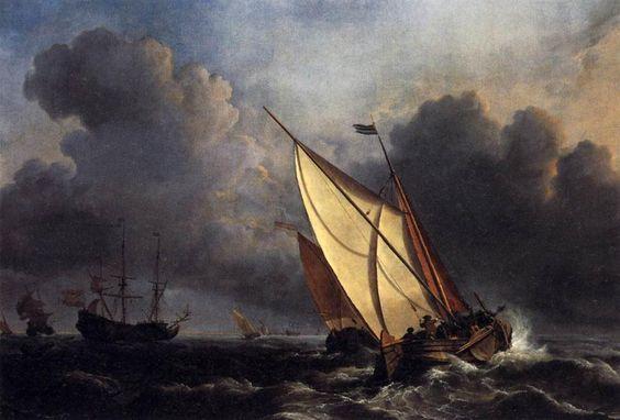 'niederländisch angeln boote in ein sturm', öl auf leinwand von William Turner (1789-1862, United Kingdom)
