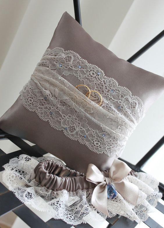 grey ring bearer, ring bearer pillow, grey ring pillow, beige ring bearer, beige ring bearer pillow, beige ring pillow, something blue, latte ring pillow, etsy