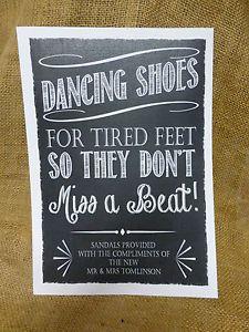 PERSONALISED dancing shoes WEDDING SIGN flip-flop tired feet chalkboard VINTAGE | eBay