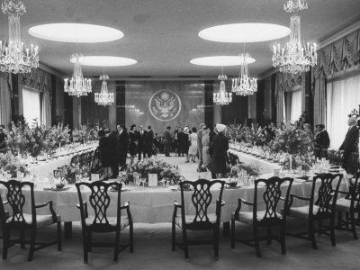 Ceremonial Department Dining Room Set for Formal Luncheon in Honor of President Betancourt of Venezuela