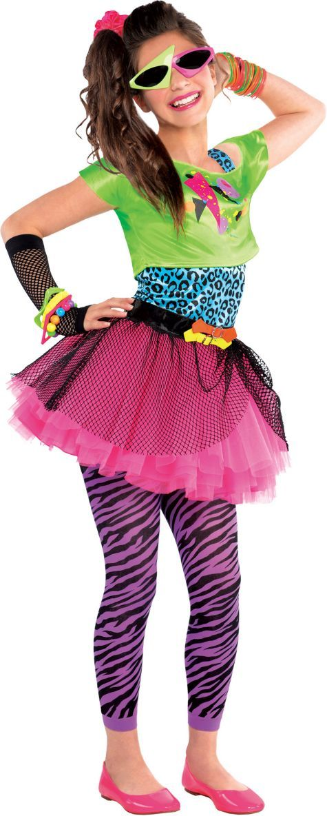 girls totally awesome 80s costume party city - 80s Dancer Halloween Costume