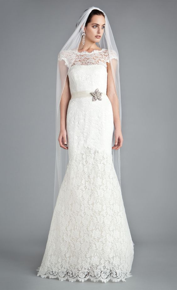 Made using the finest french lace the temperley bridal for Around the neck wedding dresses