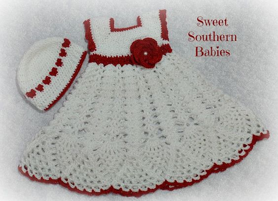 Baby Girl's Red and White Dress Valentine by SweetSouthernBabies