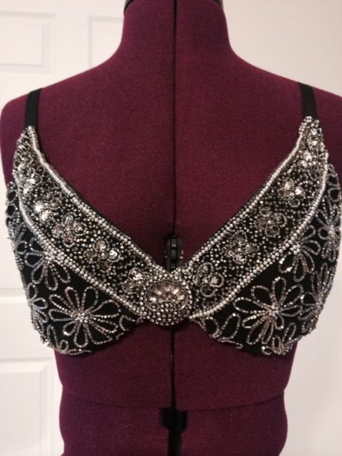 34D Silver flower beaded black bra burlesque by ContessaBurlesque