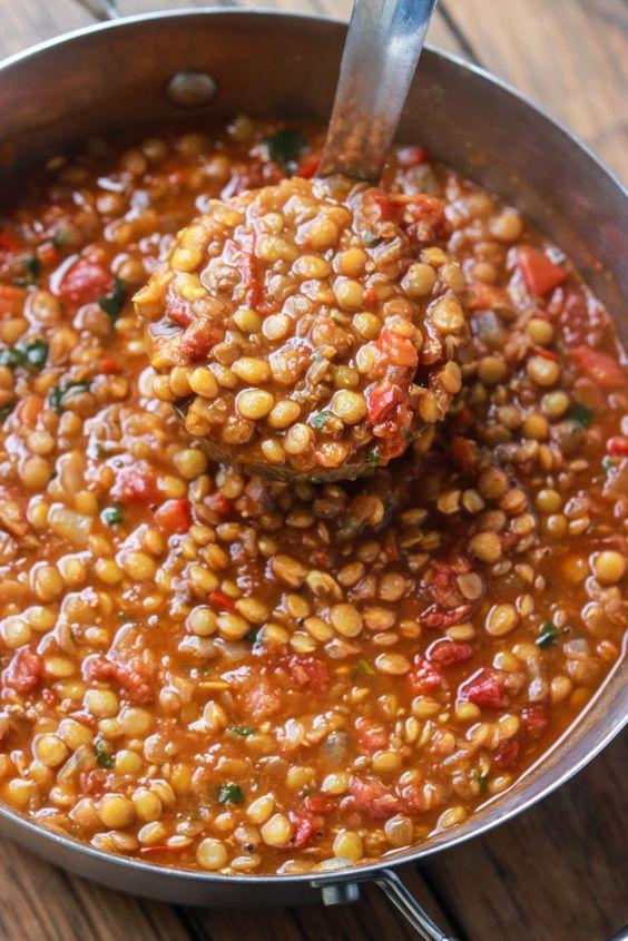 Lentils, Ground beef chili and Chili