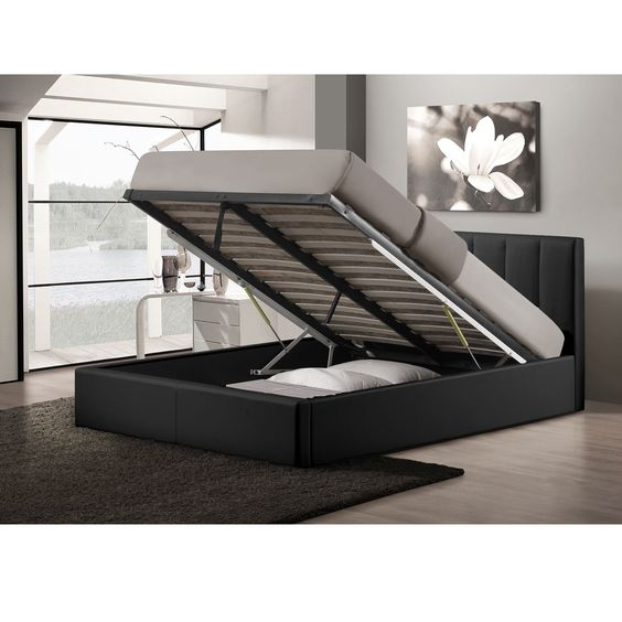 Templemore Black Leather Contemporary Queen-size Gas-lift Storage Platform Bed - Overstock Shopping - Baxton Studio Templemore Contemporary Black Faux Leather Queen