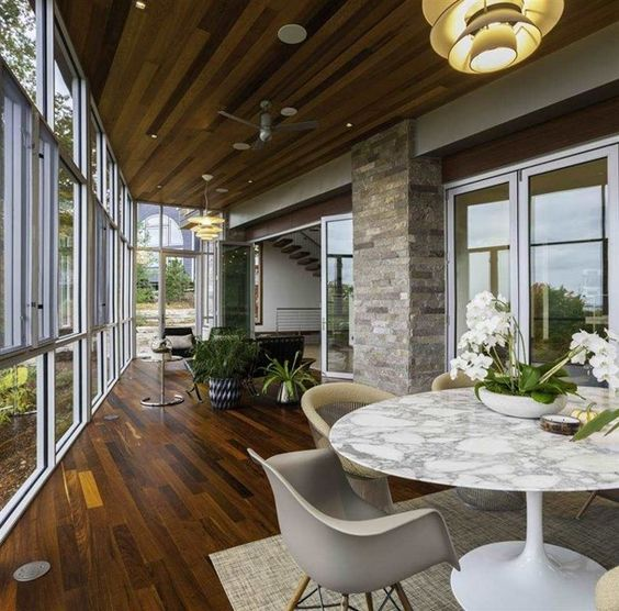 A modern take on a sun room. This space is a prime example of indoor/ outdoor living. The beautiful floor to ceiling windows, hardwood floors, and stone accents were all hand assembled. Traverse City, MI Coldwell Banker Schmidt, Realtors $5,500,000