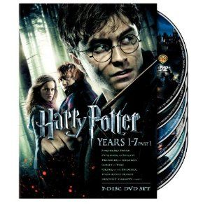 Harry Potter movies: 1 Sorcerer's Stone; 2 Chamber of Secrets; 3 Prisoner of Azkaban; 4 Goblet of Fire; 5 Order of the Phoenix; 6 Half Blood Prince; 7 Deadly Hallows (pts. 1 & 2)