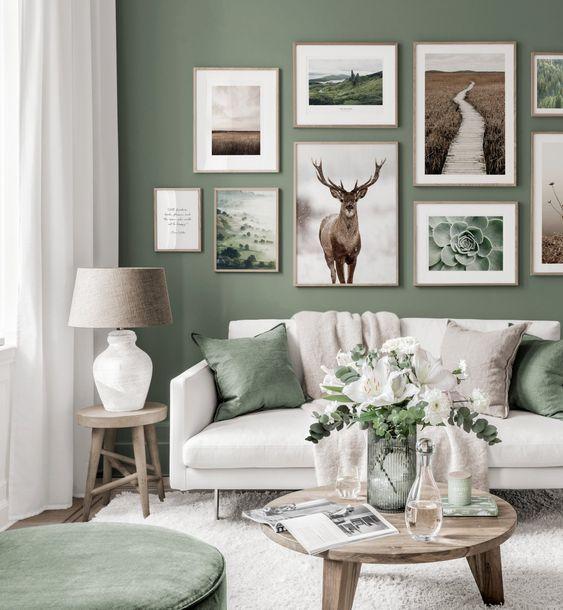 fotowand maken aan de muur, creër eenheid door kleurgebruik
