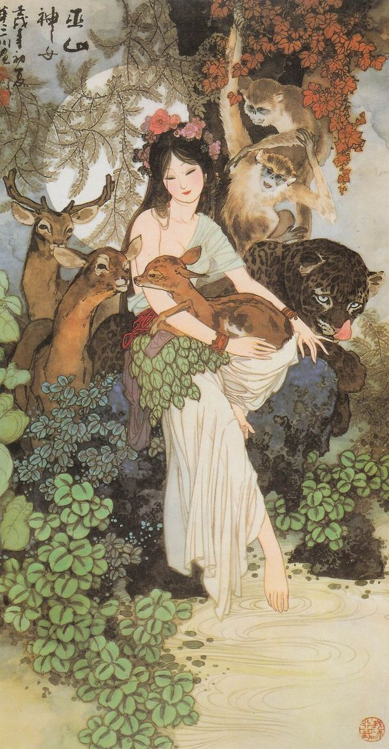 """Shānguǐ (山鬼). Literally """"mountain ghost."""" Originally a jilted lover in the classical Nine Songs, she developed over time into a woman, usually naked, living in the wilderness, married to a red leopard or a tiger. Considered the goddess of Mt. Wū (巫山神女). this piece was painted by one of my favorite artists Hwa San-chiuen"""