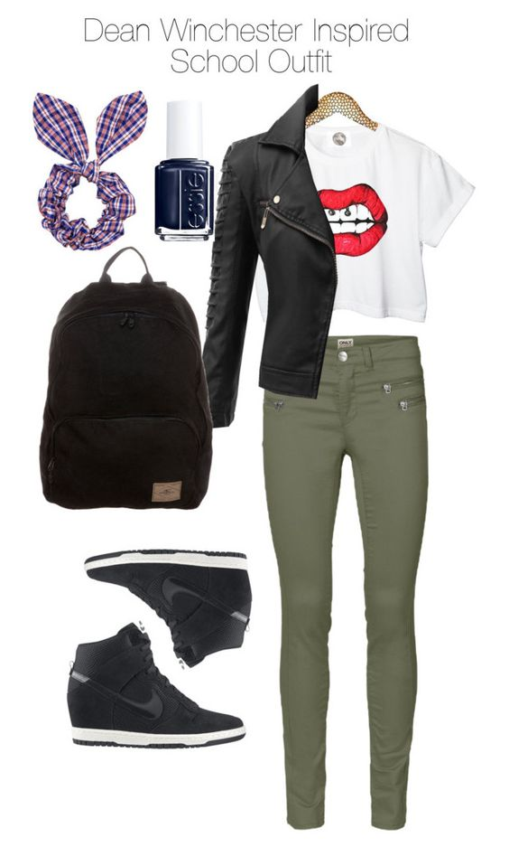 """""""Supernatural - Dean Winchester Inspired School Outfit"""" by staystronng ❤ liked on Polyvore featuring NIKE, ONLY, Doublju, O'Neill, Essie, Topshop, school, supernatural, DeanWinchester and spn"""