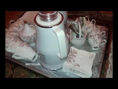 4 مريومة تحضير صينية القهوة للضيوف بأشكال مختلفة Youtube Jar Electric Kettle Decorative Jars