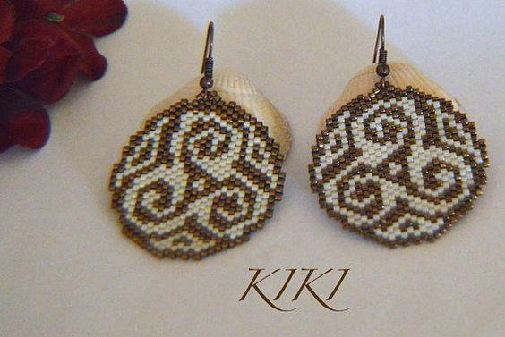 Celtic Knot swirly peyote beaded round earrings in by BeadedByKiKi