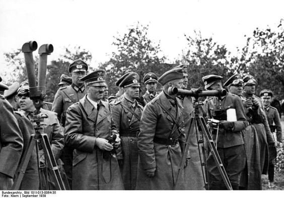 Martin Bormann, Adolf Hitler, Erwin Rommel, and Walter von Reichenau in Poland, Sep 1939