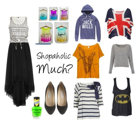 """Shopaholic Much?"" by feels-like-snow-in-september ❤ liked on Polyvore featuring Jack Wills, Whyred, Monki, VILA, Elizabeth and James, River Island, Jimmy Choo, Forever 21, one direction and batman"