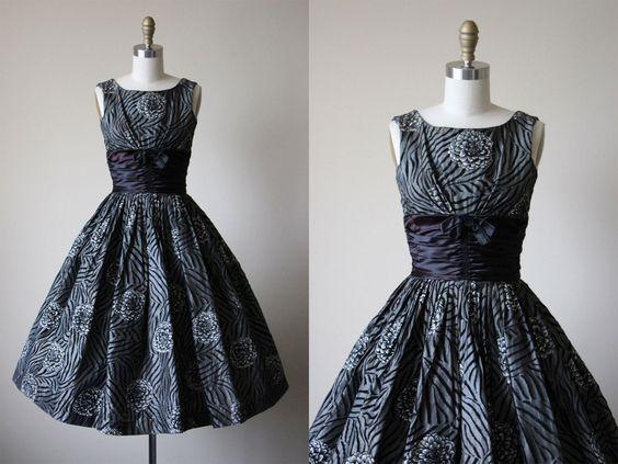 1950s Dress - Vintage 50s Dress - Charcoal Flocked Mum Tiger Print Cocktail Party Wedding Dress XS S - Manhattan Chase Dress by jumblelaya on Etsy https://www.etsy.com/listing/265047913/1950s-dress-vintage-50s-dress-charcoal