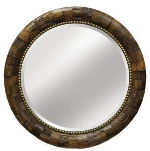Generic Round Wood Mirror With Nail Head Trim Natural Wood Finish Decor Accent Mirror Round Wood Mirror Wood Wall Mirror Rustic Style Mirror