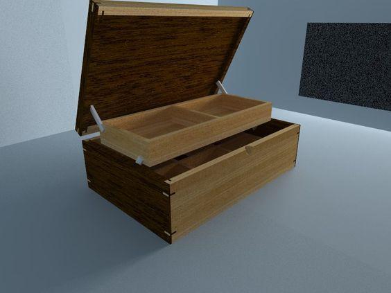 Caja Joyero en madera Cedro nogal y cedro marfil.