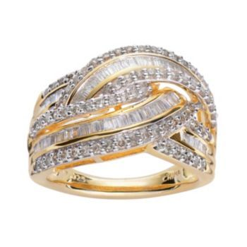 10K Gold Over Silver 1-ct. T.W. Diamond Braided Ring