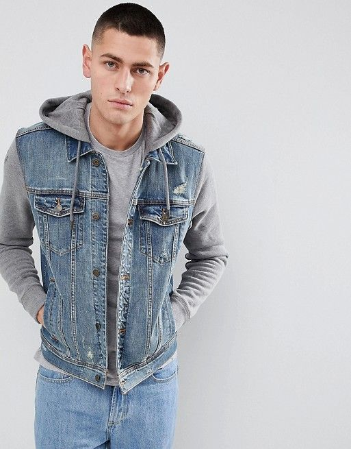 Hollister Hollister Hooded Denim Jacket With Gray Sweat Sleeves And Hood In Mid Wash Hooded Denim Jacket Jackets Men Fashion Mens Spring Jackets