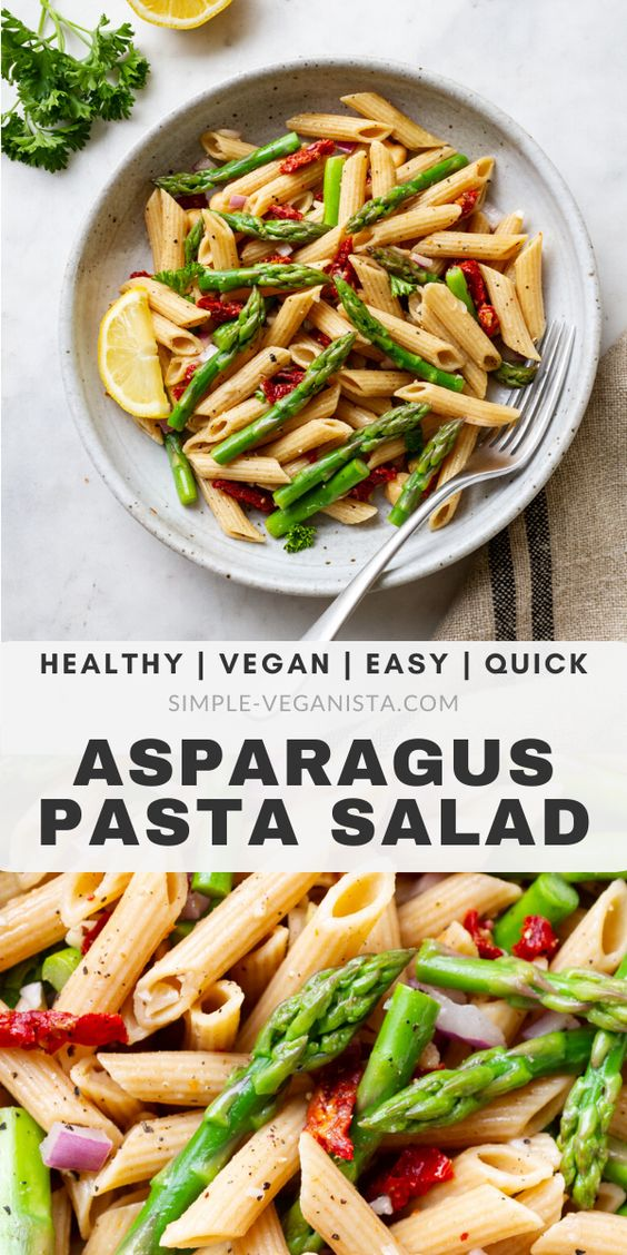 Lemony Asparagus Pasta Salad (Easy + Healthy)