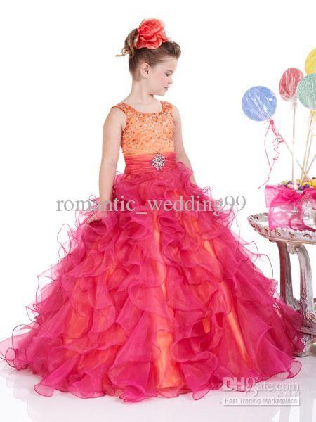 Wholesale Designer Fuchsia Sheer Organza Flower Girl Dresses Beads ...