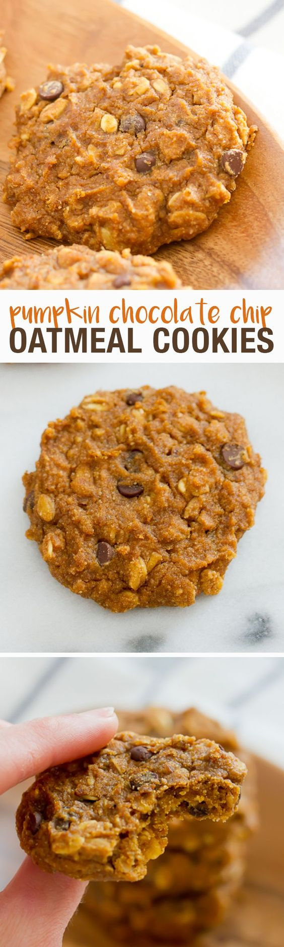 Clean Eating Pumpkin Chocolate Chip Oatmeal Cookies // Natural ingredients, gluten-free and vegan. Only 90 calories and 2 grams of sugar per cookie!