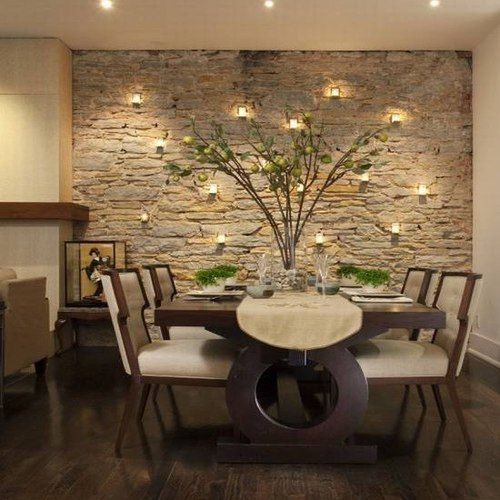 revestimiento de piedras en paredes interiores