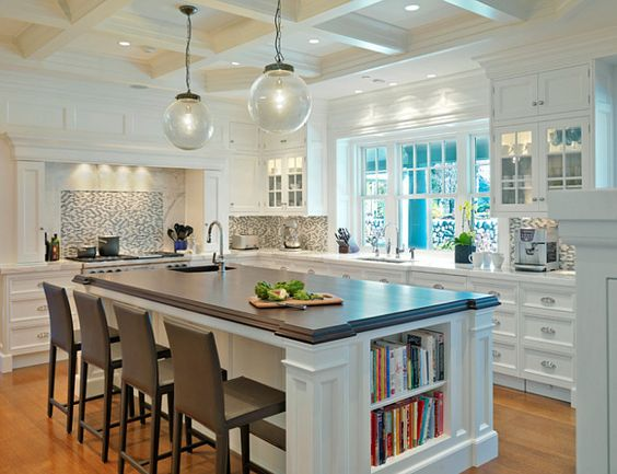 Island With Seating And Shelves For Cookbooks Kitchen Ideas