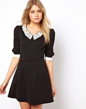 Love Skater Dress With Contrast Collar and Cuffs