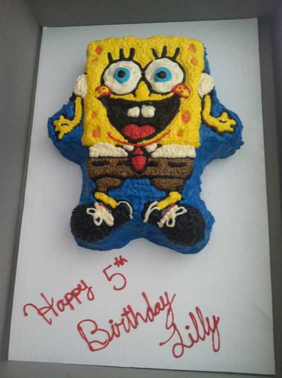 Second Sponge Bob cake I've done.... Made this one with buttercream icing and made the sides look more like ocean waves