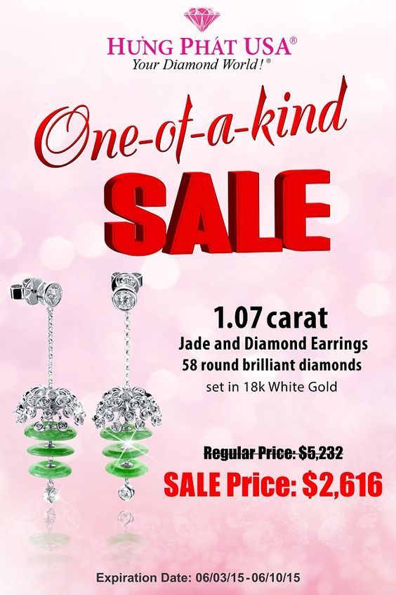 [HUNGPHATUSA - ONE OF A KIND]  One of a kind is the promotion for special products  These Jade and Diamond Earrings is made in 18K White Gold and feature 58 Round Diamonds weighing 1.07 carats total.  Regular Price: $5,232  Sale Price: $2,616 Available from 06.03.2015 to 06.10.2015  Details: www.hungphatusa.com  #diamond #hungphatusa