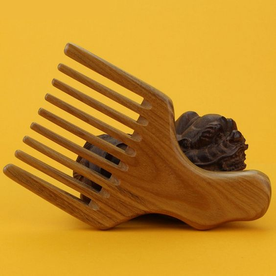 Wish | Wood Afro Comb Pick Upright Wide Tooth Curly Hair Pick No Static Wooden Comb (Color: Multicolor)