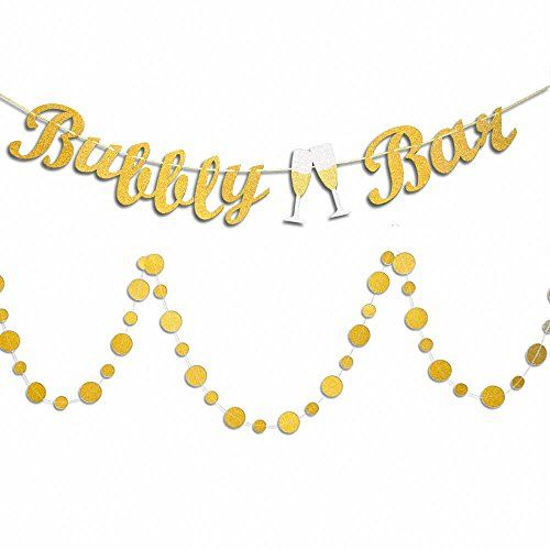 Vilight Bubbly Bar Garland Banner With Gold Glitter Paper Https