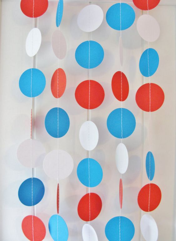 Red White and Blue Dot Garland
