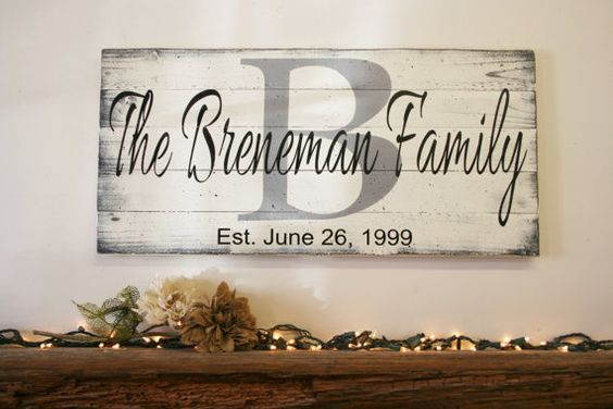 A beautiful piece for you home to be cherished for years to come! This is a wood pallet sign that measures 30 x 14. The background is White.