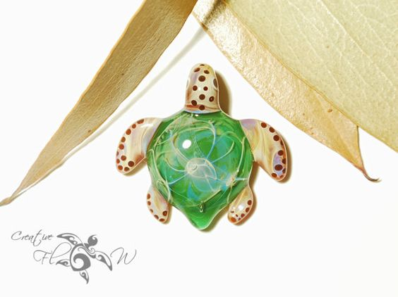 Baby Sacred Tree Turtle Pendant  Glass by CreativeFlowGlass