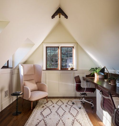 Cozy Attic Office With Blush Wing Back Chair And Tribal Patterned Rug Jessica Helgerson Interior Design Attic Remodel Attic Renovation Attic Rooms