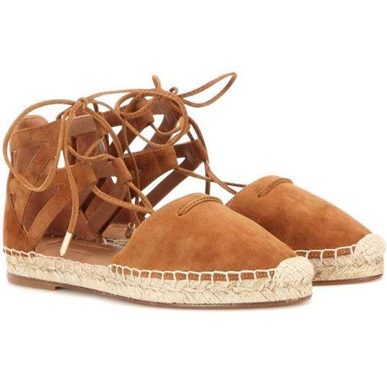 Aquazzura Belgravia Suede Espadrilles (€355) ❤ liked on Polyvore featuring shoes, sandals, flats, brown, brown flats, aquazzura shoes, brown espadrilles, suede sandals and flat pumps