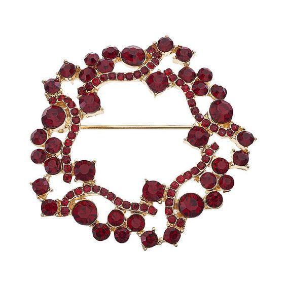 Dana Buchman Red Wreath Pin, Brt Red