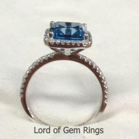 http://rubies.work/0442-sapphire-ring/ … Emerald Cut london Blue Topaz Engagement Ring Pave Diamond Wedding 14K White Gold 8x10mm – Lord …