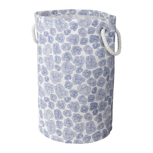 IKEA - KLUNKA, Laundry bag, You can use this laundry basket for storing more than just laundry, like your child's toys.Sturdy handles make this laundry basket easy to carry.The plastic coating on the inside protects against moisture.Storing the laundry bag is simple, just fold it up.