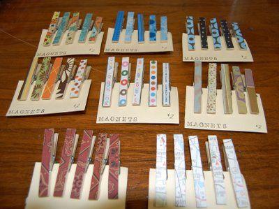 Paper Embellished Clothespins Magnets
