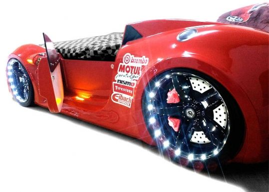 the new gt1 car bed for children with opening doors and led lights remote operated