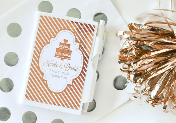 Personalized Metallic Foil Notebook Favors from HotRef