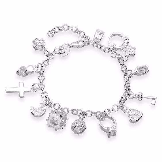 13pcs Pendants Style Fashion Women Silver Plated Chain Bracelet Bangle Jewelry #Unbranded #Chain