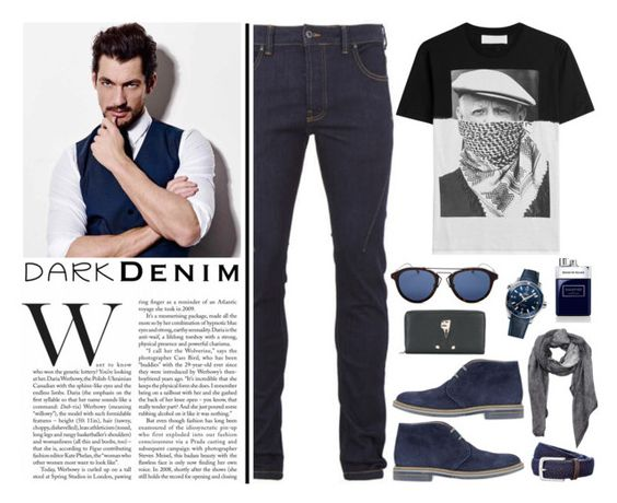 """""""Dark Denim for the weekend!"""" by nvoyce ❤ liked on Polyvore featuring Religion Clothing, Neil Barrett, Brimarts, Christian Dior, OMEGA, Dolce&Gabbana, Givenchy, Trafalgar, House of Sillage and men's fashion"""