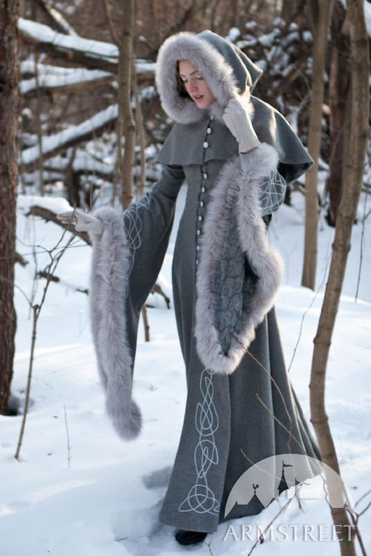 Exclusive fantasy fashion design coat Heretrix of the Winter for sale. Available in: black wool, ivory wool :: by medieval store ArmStreet