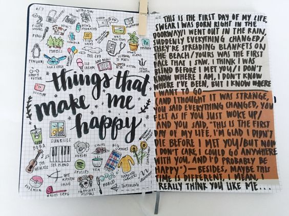 """misc. journal pages — some things that make me happy, lyrics from """"first day of my life"""" by bright eyes (which is one of my favorite songs ever and if you have never listened to it before i encourage..."""
