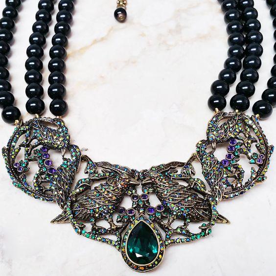 """Heidi Daus Ravishing Raven Beaded Crystal Bib Bronzetone 16-3/4"""" Necklace HSN #HeidiDaus"""